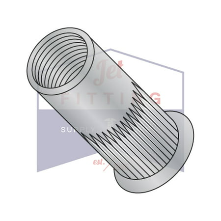 10-32 Small Flange Ribbed Threaded Insert (Rivet Nut) | Aluminum Alloy #5056 | Thin Wall | Open End | Cleaned And Polished | Non-Ribbed (Quantity: 1000)