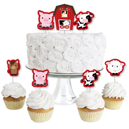 Farm Animals - Dessert Cupcake Toppers - Barnyard Baby Shower or Birthday Party Clear Treat Picks - Set of - Barnyard Animals Party