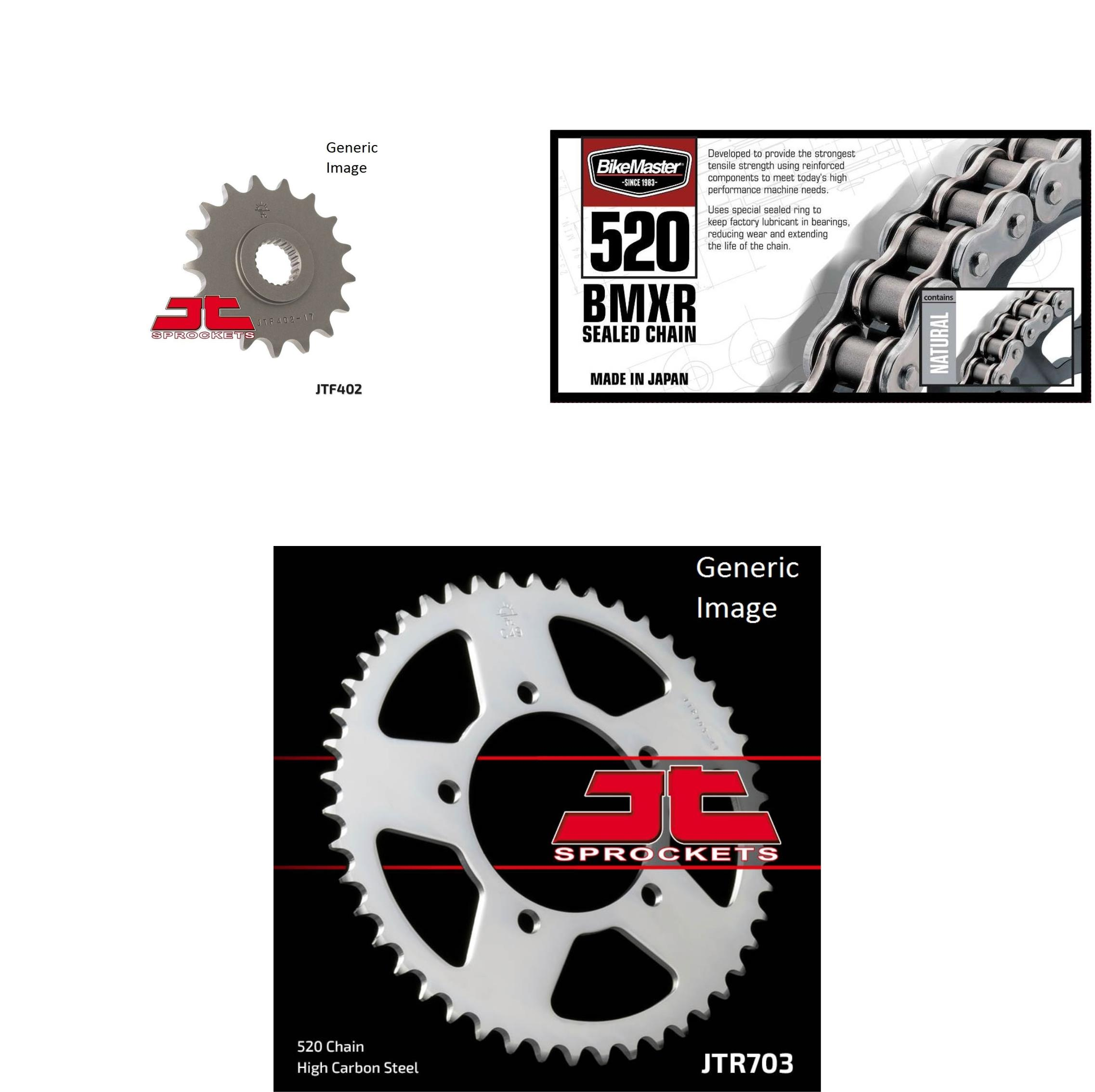 BIKEMASTER 520 BMXR Sealed Chain Natural, JT Front & Rear Sprocket Kit for Street BMW 650 Xmoto 2007-2008