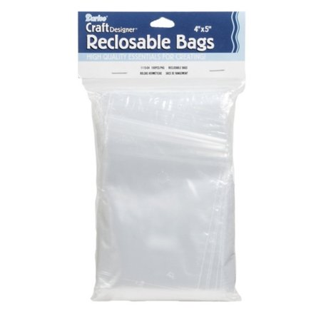 Darice 1115-04 100-Pack Plastic Reclosable Storage Bags, 5 by 4-Inch, Clear