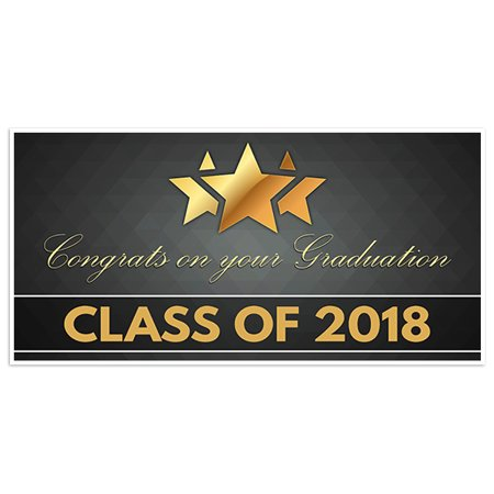 Gold Star with Ribbon Graduation Banner Personalized Class of 2018 Party Backdrop
