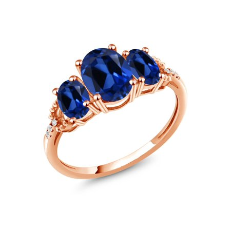 Ruby Blue Diamond Rose (2.64 Ct Oval Blue Simulated Sapphire 10K Rose Gold Diamond Accent Ring )
