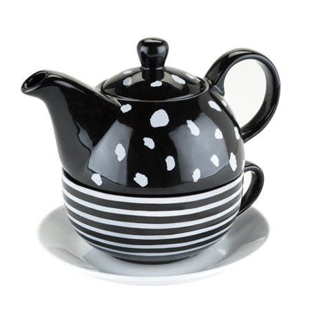 Ceramic Teapot, Addison Black And White Chinese Small Cute Tea Set For One ()