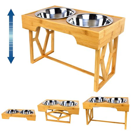 Adjustable Bamboo Elevated Pet Feeder, Large Raised Stainless Steel Food and Water Bowls for Dogs and Cats (3