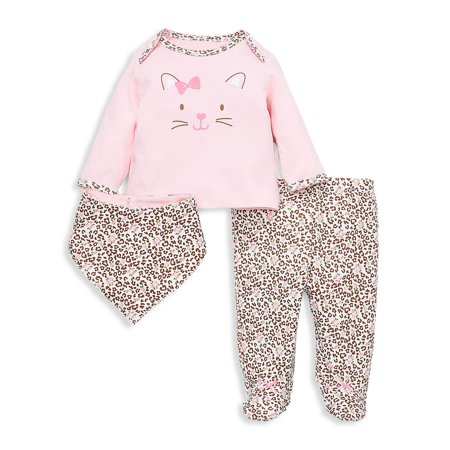 Baby Girl's 3-Piece Kitty Leopard Bib, Top & Footed Pants Set