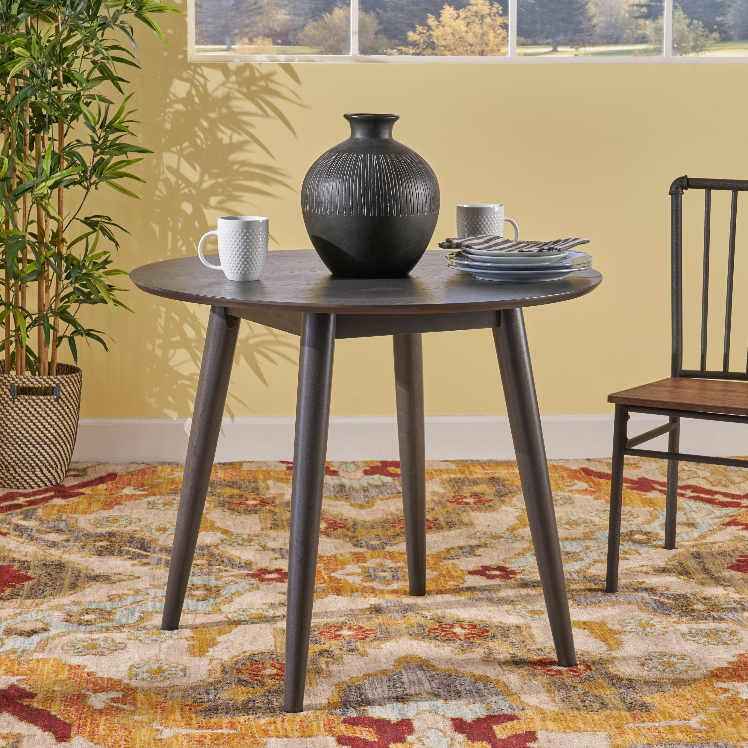 Noble House Jake Mid Century Modern Round Faux Wood Dining Table, Gray