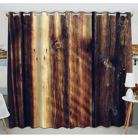 GCKG Rustic Old Barn Wood Art Window Curtain Kitchen Curtain Window Drapes Panel for Living Room Bedroom Size 52(W) x 84(H) inches (Two Piece) ()