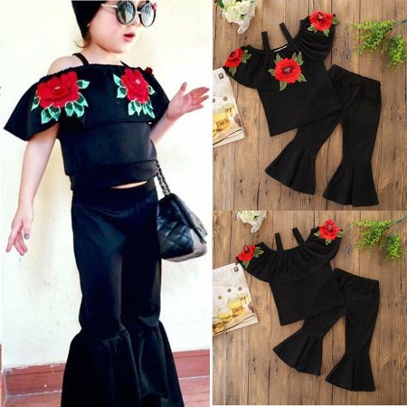 The Noble Collection Kids Baby Girls 2PCS Clothes Embroider Flower Tops+Bell-bottoms Pants Outfits
