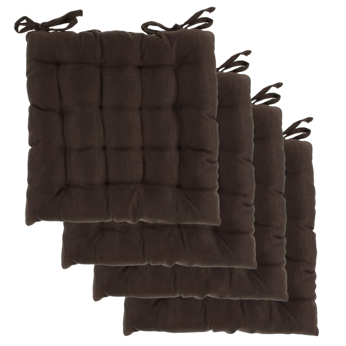 Dream Home, Set of 4, Indoor Chair Pads 16x16 Inches Square Tufted Seat Cushions Pillows With Ties by