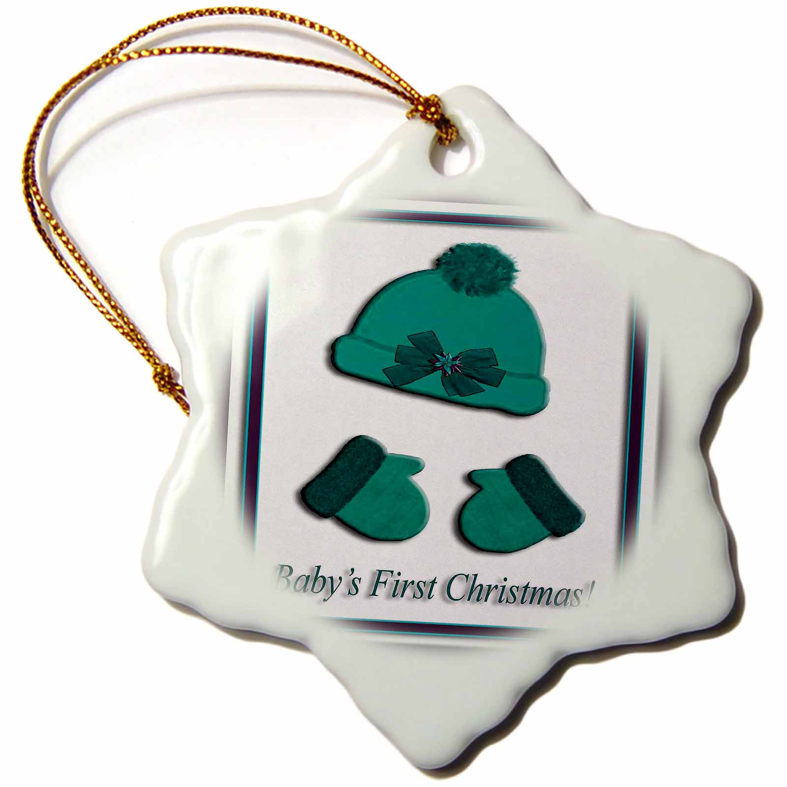 3dRose Green Cap and Mittens Babys First Christmas Poinsettia Bow, Snowflake Ornament, Porcelain, 3-inch
