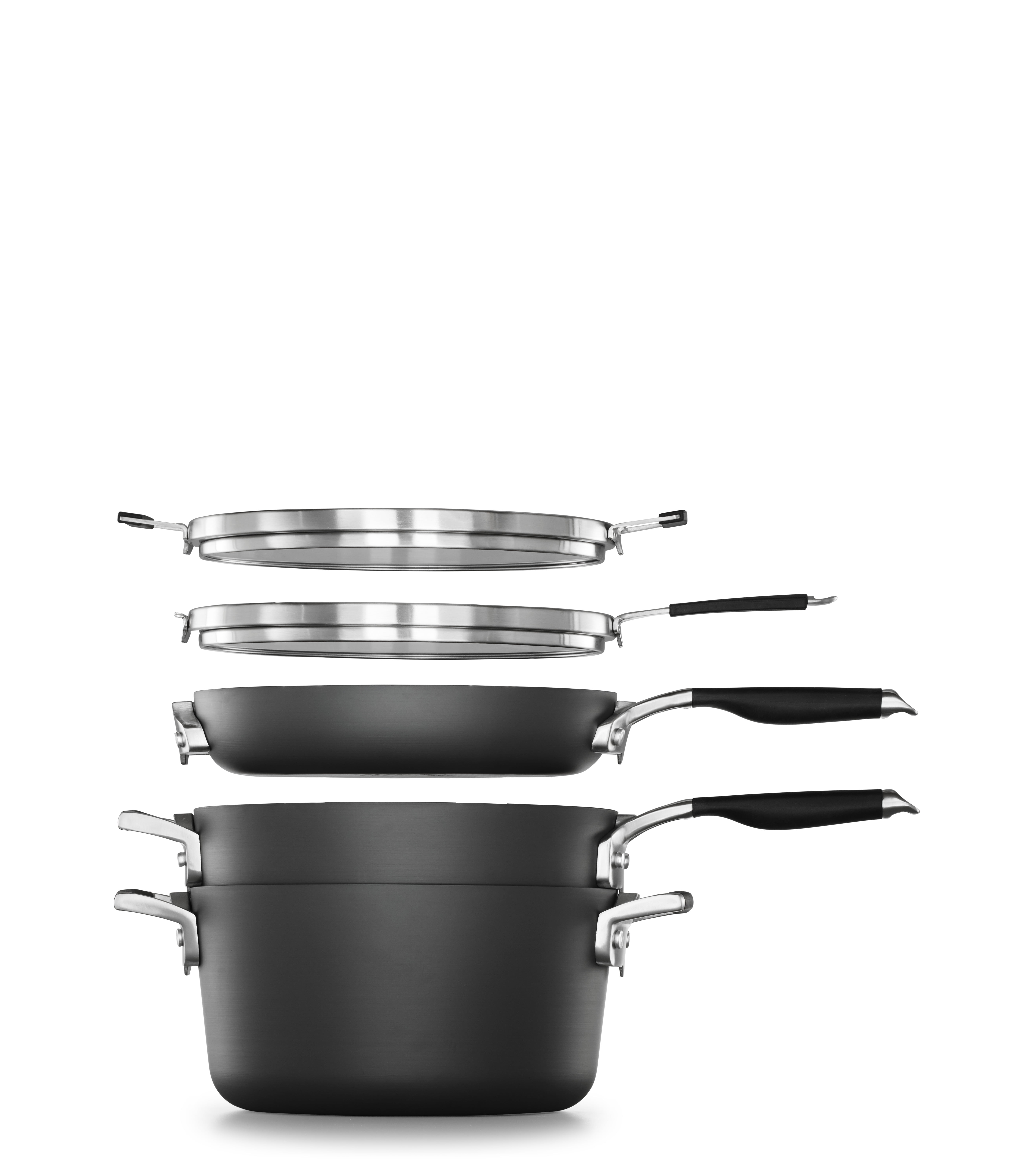 Select by Calphalon Space Saving Hard Anodized Nonstick 7 Piece Cookware Starter Set