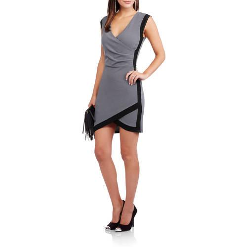 9th Street Apparel Women's Colorblock Bodycon Wrap Dress