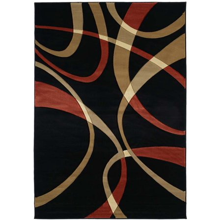 - United Weavers Contours Area Rugs - 510-21329 Solid & Striped Terracotta Swirls Wavy Lines Stripes Rug