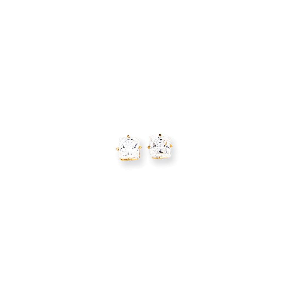 14k Yellow Gold 6mm Princess Cut Cubic Zirconia Earrings