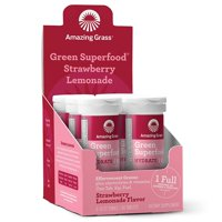Amazing Grass Hydration Green Superfood Effervescent Tablets, Strawberry Lemonade, 60 Ct