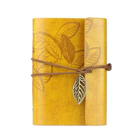 Vintage Dark Green Pu Leather Cover Loose Leaf Blank Notebook Journal Diary Yellow Best Gifts