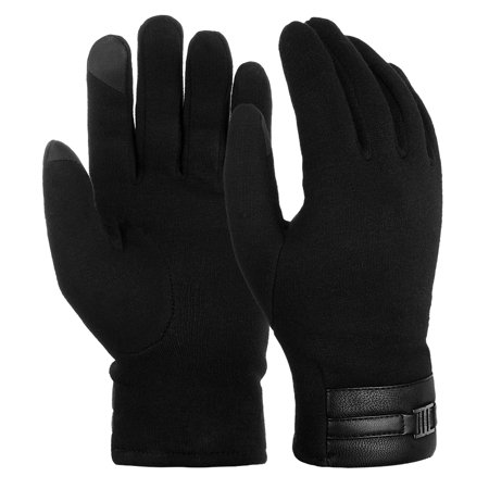 Black Child Gloves (Vbiger Winter Warm Texting Gloves Cold Weather Casual Gloves for Men, Black, M)