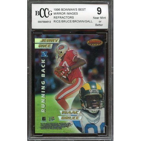 Tim Brown Hand Signed - 1996 bowman's best mirror images refractors #7 JERRY RICE - TIM BROWN BGS BCCG 9