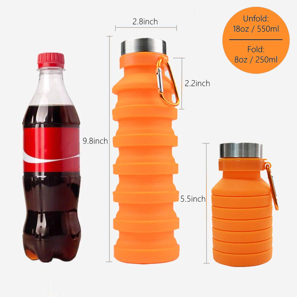 Collapsible Water Bottle 18oz with Carabiner,