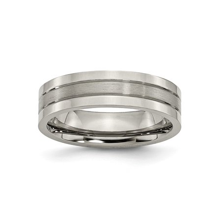 Mens 6mm Brushed Anium And Polished Grooved Edge Wedding Band Ring Size 13