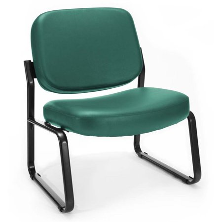 Scranton & Co Big and Tall Faux Leather Guest Reception Chair in Teal