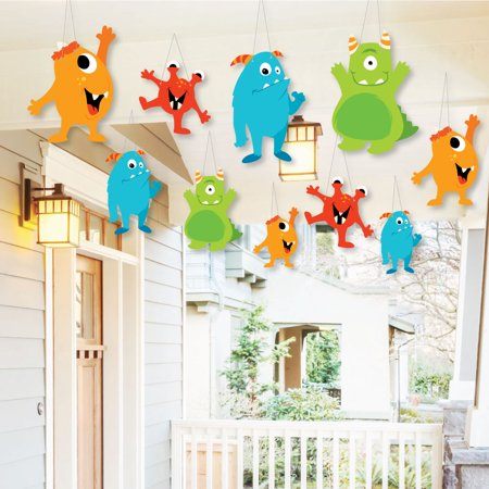 Monster Bash (Hanging Monster Bash - Outdoor Little Monster Birthday Party or Baby Shower Hanging Porch & Tree Yard Decorations -10)