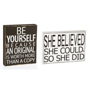 Cape Craftsmen She Believed & Be Yourself Wooden Signs, Set of 2