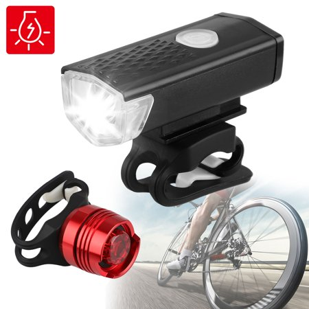 EEEkit USB Rechargeable LED Bike Light Set, Bicycle Headlight Front Light & Free Rear Back Tail Light. Waterproof, Easy to Install for Kids Men Women Road Cycling Safety Commuter