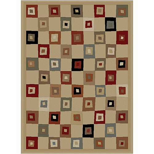 Concord Global Imports Soho Tribeca Village Squares Ivory Area Rug