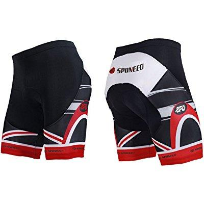 sponeed bike shorts for men padded tights bicycle pants cycling short road mtb asia l  us m red multi by