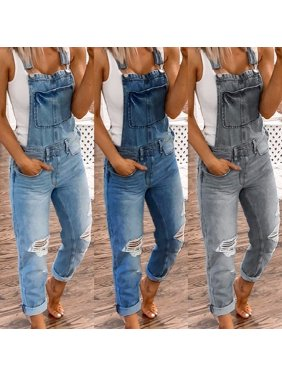 Women Overalls Denim Jumpsuit Ripped Holes Jeans Sleeveless Jumpsuits