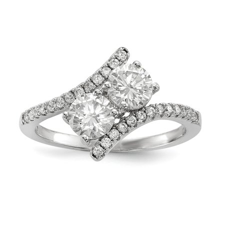 Sterling Silver 11.4 MM CZ Two Stone Polished Bypass Ring, Size 7 ()