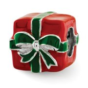 Sterling Silver, Green and Red Enameled Present Bead Charm