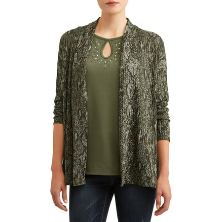 Cheetah Print Cardigan - Women's Long Sleeve Embellished Top and Cardigan 2fer