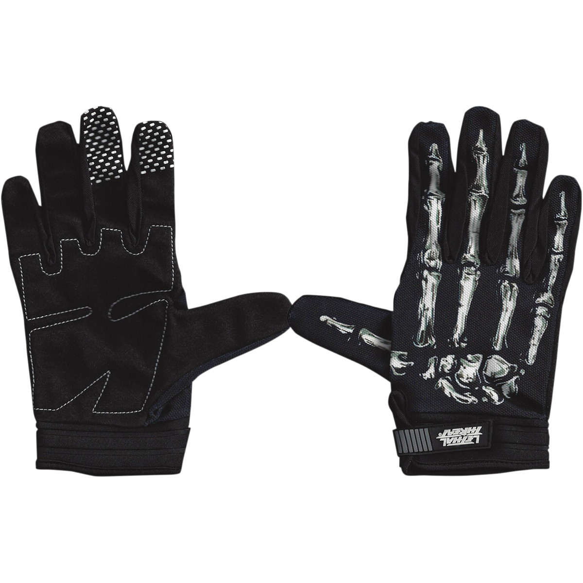 lethal threat gloves mens short cuff textile bone hand