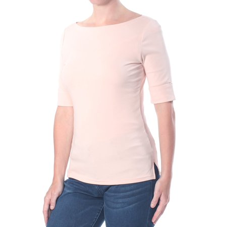 RALPH LAUREN Womens Pink Elbow Sleeves Boat Neck Top Size: M