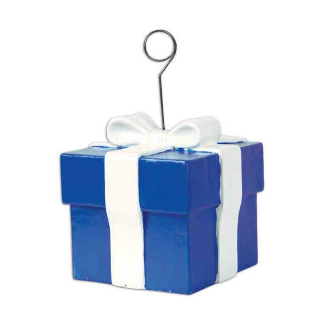 Beistle 50917 6 Ozs Blue Gift Box Photo / Balloon Holder - Pack of 6
