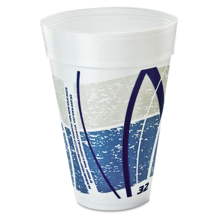 Impulse Hot/cold Foam Drinking Cups, 32oz., Printed, Blue/gray, 25/bag, 20/ct