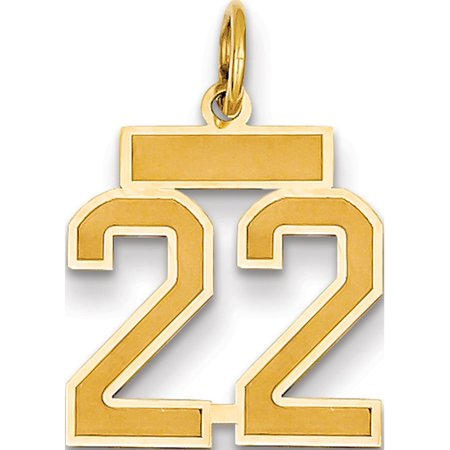 14k Yellow Gold Small Satin Number 22 Pendant / Charm](Small Charms)