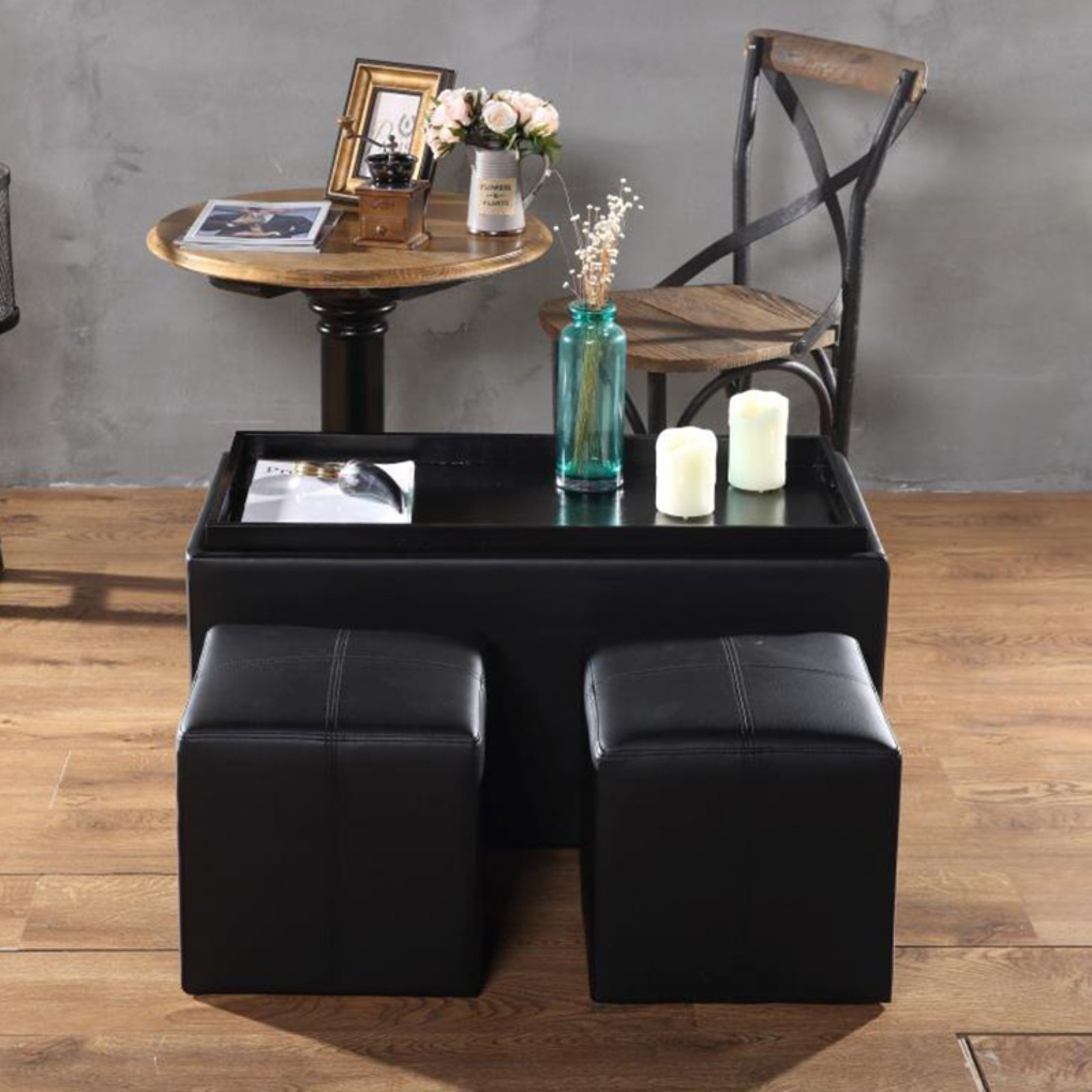 Creative Living 3 Piece Storage Bench and Ottoman Set - Black