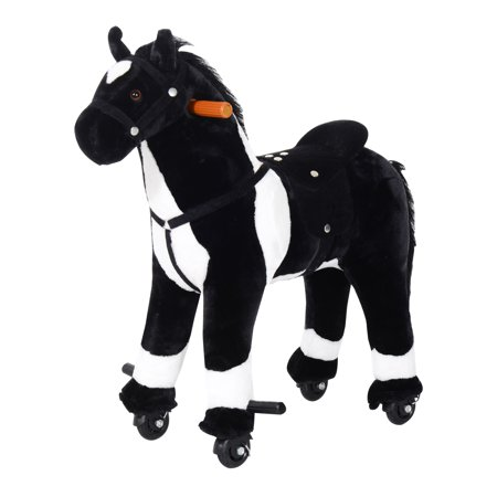 Qaba Kids Plush Ride On Walking Horse With Wheels   Black