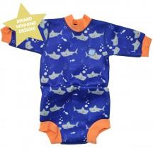 Splash About Happy Nappy Diaper Wetsuit Shark Orange Large 6-14 Months