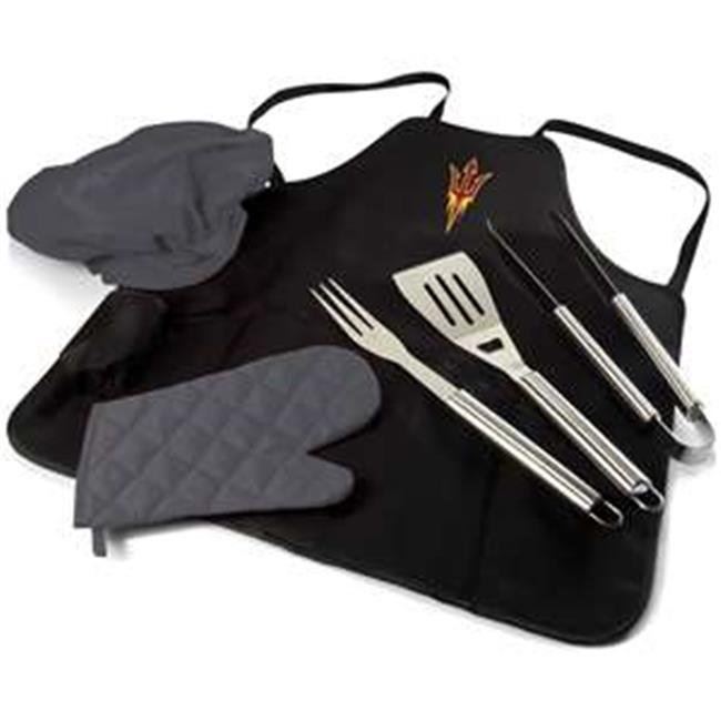 Arizona State Sun Devils Digital Print BBQ Apron Grill Tool Set Tote Pro Bag, Black