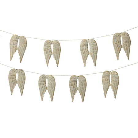Set of 4 Light Gray and Cream White Metal Decorative Angel Wing Garland 72