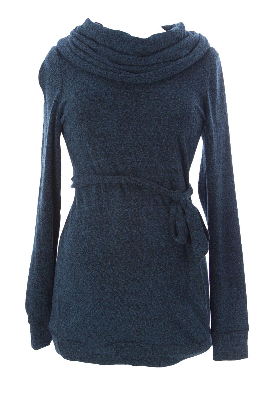 JULES & JIM Maternity Women's Heathered Belted Sweater, Medium, Teal