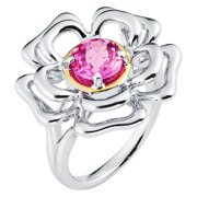 Boston Bay Diamonds  18k Yellow Gold & 925 Sterling Silver 7mm Round Created Pink Sapphire Ring 7