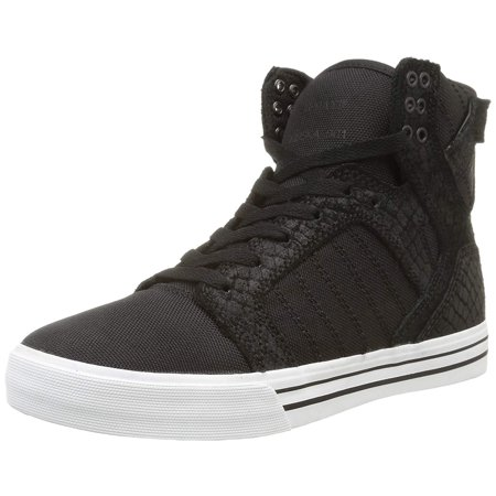 Coated Canvas Black Leather - Supra Men's Skytop Hi Top Canvas Snakeskin Embossed Suede Fashion Sneaker Shoes Black White S18250