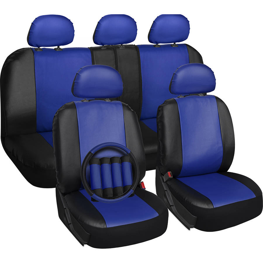 Oxgord 17-Piece Set Faux Leather/Auto Seat Covers Set, Airbag Compatible, 50/50 or 60/40 Rear Split Bench, Universal Fit for Car, Truck, or SUV, FREE Steering Wheel Cover, Blue