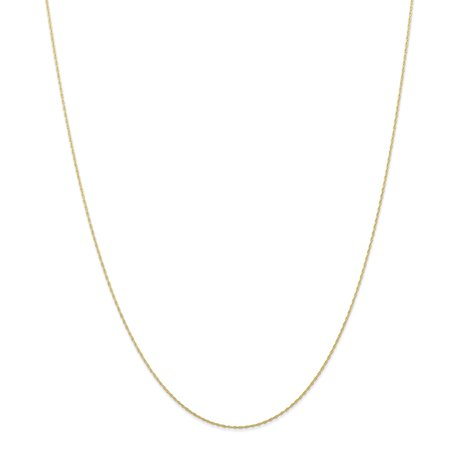 10k Yellow Gold 0.5 mm Carded Cable Rope Chain Necklace 20inch