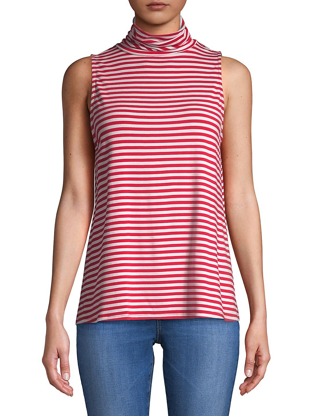 Striped Sleeveless Turtleneck